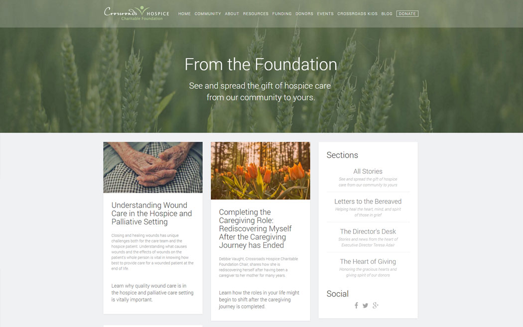 TurtlePie created a blog for Crossroads Hospice Charitable Foundation, developed a well-defined content schedule and continues to produce quality content for their readership.